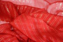 Hedvábný šifon červený s lurexem, š.130