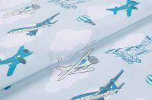 Bavlnené plátno modrošedé, lietadlá, š.145