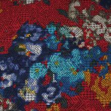 Kostýmovka červená 15193, farebný vzor, š.145