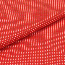 Bavlněné plátno červené, bílý puntík, š.140