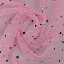 Tyl růžový, barevné kamínky š.150