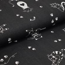 Plátno čierne, biele mačky a myši, š.160