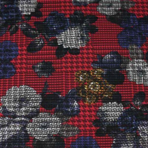 Kostýmovka červená 15200, farebný kvet, š.150