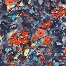 Satén modrý, farebný vzor, š.155