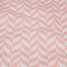 Bavlněné plátno bílé, meruňkový geometrický vzor, š.140