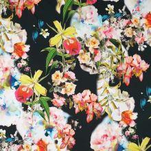 Bavlna černá, barevný květinový vzor, š.145