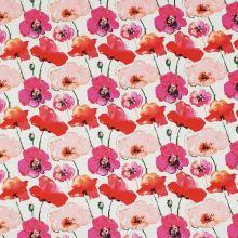 Bavlna biela, ružové a červené vlčie maky, š.145