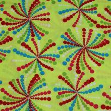 Bavlna zelená, barevný puntíkatý vzor š.145