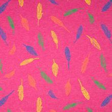 Úplet růžový, melanž, barevná pírka, š.155