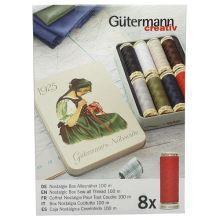 Nitě Gutermann 640950, sada 8 špulek v dárkové kovové krabičce