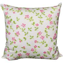 Povlak na vankúš krémový, ružové kvety s lístočkami, 45x45 cm