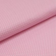 Bavlněné plátno růžové, bílé drobné puntíky, š.140