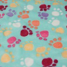 Fleece tyrkys, barevné ťapky, š.150