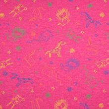 Úplet růžový, melanž, barevná zvířátka, š.155