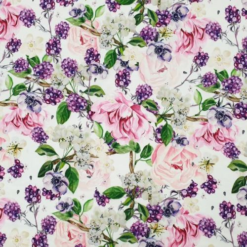 Šatovka silky biela, ruže a černice, š.140
