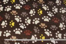 Fleece hnědý, barevné ťapky, š.150
