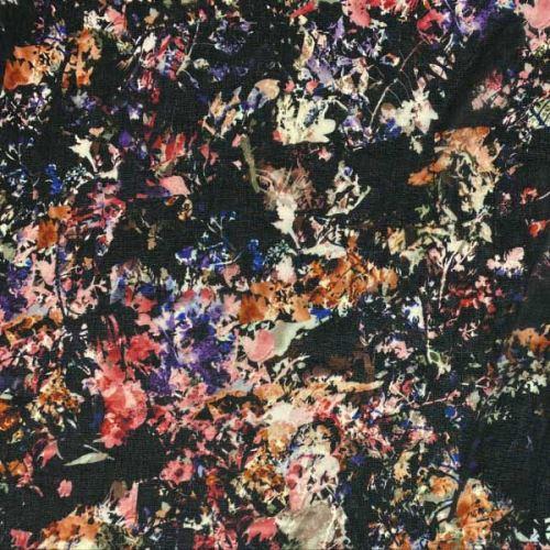 Šifón 16948 čierny, kvetinový vzor, š.150