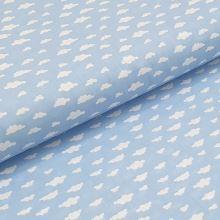 Bavlnené plátno modré, biele oblaky, š.140