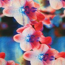 Úplet farebný, červeno-modrá orchidea, š.140