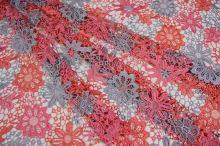 Krajka trojbarevná, oranžovo-růžovo-šedá š.135