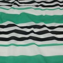 Tkanina zeleno-čierne pruhy, š.150