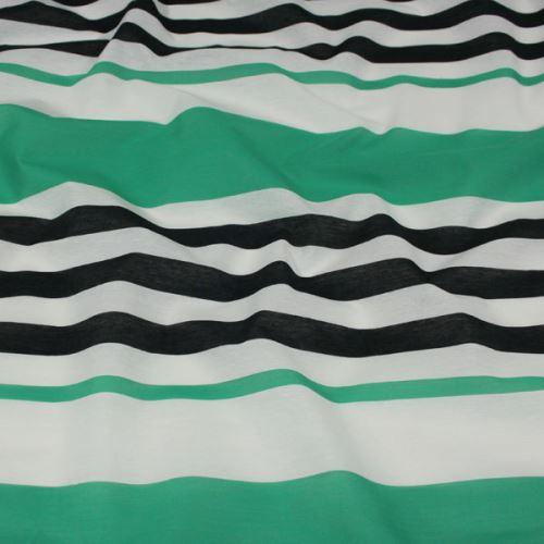 Tkanina zeleno-černé pruhy, š.150