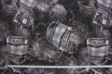 Úplet hnědočerný 15855, denim, š.145