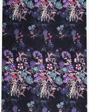 Úplet čierny, fialové a ružové kvety, š.175