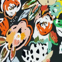 Teplákovina nepočesaná šedozelená, barevné květy, š.150
