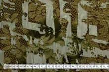 Šifon 06839, khaki vzor, š.150
