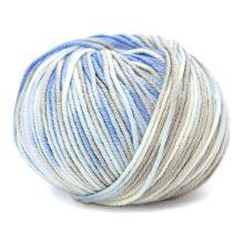 Priadza HOLLIE PRINT 50g, modrobéžovej melír - odtieň 570