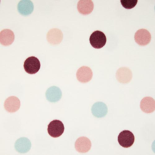 Fleece bílý, barevné puntíky, š.145
