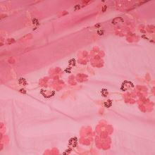 Elastický tyl, růžová výšivka š.135/125