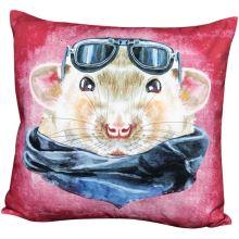 Povlak na polštář růžový, křeček s brýlemi, 45x45 cm