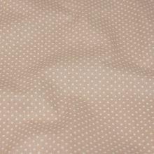 Bavlna béžová, drobný bílý puntík, š.145
