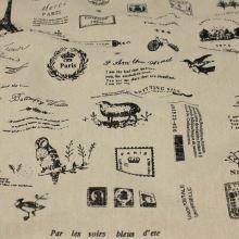 Dekoračná látka béžová, nápisy a obrázky, š.140