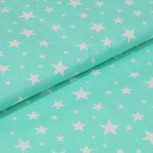 Bavlněné plátno mint, bílé hvězdy, š.160