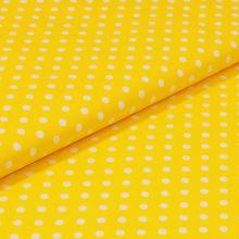 Bavlněné plátno žluté, bílý puntík, š.140
