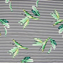 Úplet bílo-modrý pruh, zelený květ strelície, š.155