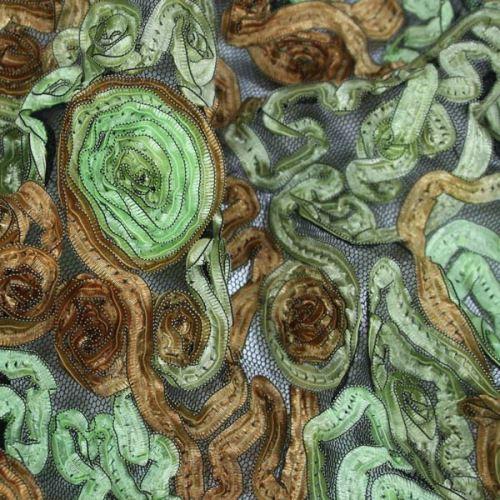 Krajka našívaná, zelenohnědá, š.145
