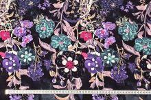 Úplet černý, fialové a růžové květy, š.175