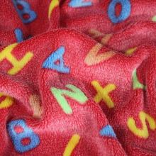 Fleece červený, barevná písmena š.145
