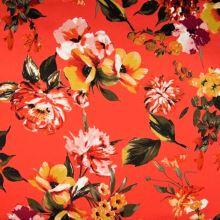 Bavlna oranžová, velké barevné květy, š.140