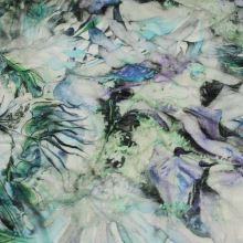 Úplet farebný, bielo-modré kvety, zelené listy, vzor š.155