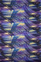 Satén fialový, modro-černé proužky, š.145