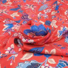 Šifon červený, modro-růžový vzor, š.145