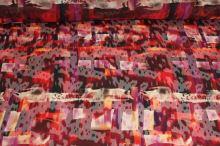Šifon červený vzor š.145