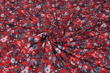 Úplet červený, šedo-modré květy, š.150