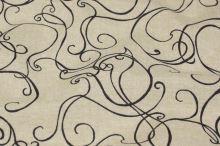 Dekorační látka režná, černé ornamenty, š.140
