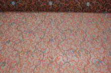 Čipka hnedá, farebná výšivka š.140